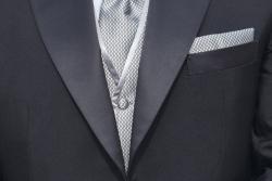 Σμόκιν κουστούμι για επίσημες τελετές (γκρι σατέν με γιλέκο και παπιγιόν)